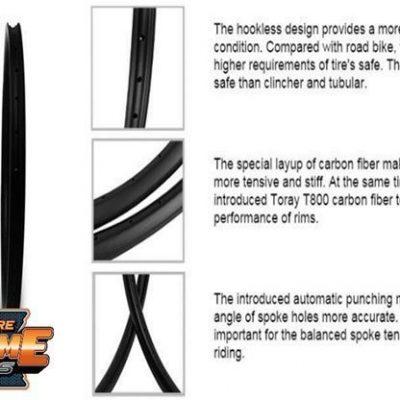 Carbon fiber rims 29er MTB bike rims hook less 40mm wide 30mm deep, 32H